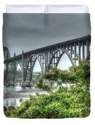 Low Tide At The Yaquina Bay Bridge Duvet Cover by Thom Zehrfeld