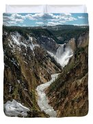 Lower Falls In Yellowstone Duvet Cover