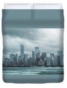 Lower Manhattan Panorama Duvet Cover by Judy Hall-Folde