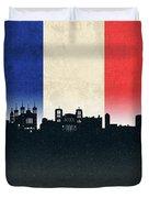 Lyon France City Skyline Flag Duvet Cover