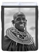 Maasai Woman In Black And White Duvet Cover