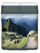 Machu Picchu And Llamas Duvet Cover