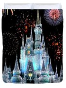 Magic Kingdom Castle In Frosty Light Blue With Fireworks 06 Duvet Cover