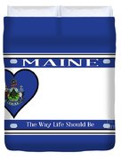 Maine State License Plate Duvet Cover