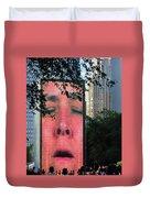 Man Face Crown Fountain Chicago Duvet Cover