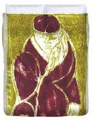 Man In A Crimson Hat Duvet Cover