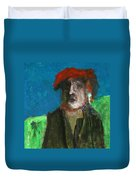Man In A Red Hat Duvet Cover