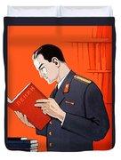 Man Is Reading Lenin Books Duvet Cover