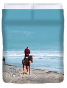 Man Riding On A Brown Galloping Horse On Ayia Erini Beach In Cyp Duvet Cover