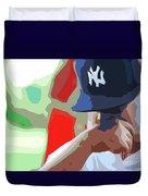 Man With Yankees Cap Duvet Cover