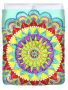 Mandala Of Many Colors On Turquoise Duvet Cover