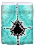 Mandelbrot Fractal Black Aqua White Vertical Duvet Cover