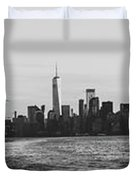 Manhatta, New Jersey And The Statue Of Liberty Duvet Cover