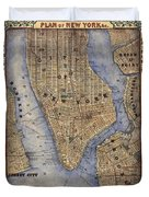 Manhattan New York Antique Map Brooklyn Hand Painted Duvet Cover