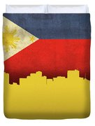 Manilla Philippines City Skyline Flag Duvet Cover