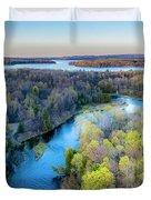 Manistee River Evening Aerial Duvet Cover