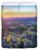Manistee River Sunset Aerial Duvet Cover