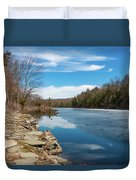 March Morning At Sanctuary Pond Duvet Cover