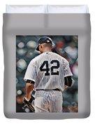 Mariano Rivera  New York Yankees Abstract Art 1 Duvet Cover