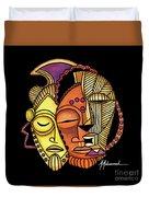 Maruvian Masks 2 Black Duvet Cover