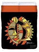Maruvian Masks 3 Black Duvet Cover