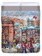 Mcgill University Roddick Gates Original Painting For Sale Hoockey Art C Spandau Canadian City Scene Duvet Cover