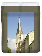 medieval church spire in France Duvet Cover