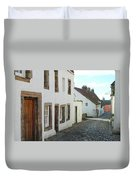 medieval cobbled street in Culross, fife Duvet Cover