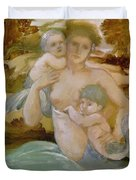 Mermaid With Her Offspring Duvet Cover