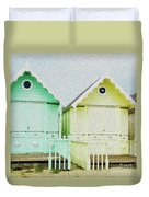 Mersea Island Beach Hut Oil Painting Look 5 Duvet Cover