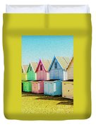 Mersea Island Beach Hut Oil Painting Look 7 Duvet Cover