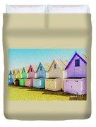 Mersea Island Beach Hut Oil Painting Look 9 Duvet Cover