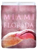 Miami Florida- Pink Flamingo Duvet Cover