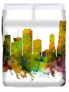 Miami Florida Skyline Panoramic Duvet Cover