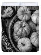 Mimi Pumpkins In Wicker Bowl Black And White Duvet Cover