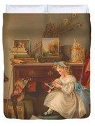 Miss Oakley Making The Scrapbook 1866 Duvet Cover