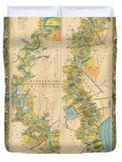 Mississippi River Historic Map Lousiana New Orleans Baton Rouge Map Farming Plantation Hand Painted  Duvet Cover