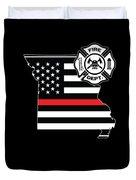 Missouri Firefighter Shield Thin Red Line Flag Duvet Cover