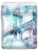 Modern Art Nyc Manhattan Bridge - Jazzy Watercolor Duvet Cover