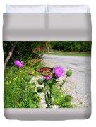 Monarch Butterfly Danaus Plexippus On A Thistle Duvet Cover