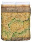 Montana Custom Map Art Rivers Map Hand Painted Duvet Cover