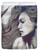 Monument - Red 'n Blue - Sleeping Beauty, Woman With Skyline Tattoo And Bird Duvet Cover