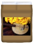 Moody Banjo And Yellow Roses Duvet Cover