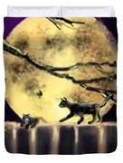Moon Cats Duvet Cover
