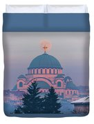 Moon In The Cross Of The Magnificent St. Sava Temple In Belgrade Duvet Cover