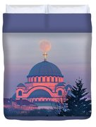Moon On Top Of The Cross Of The Magnificent St. Sava Temple In Belgrade Duvet Cover