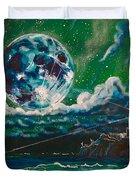 Moon Over Alcatraz Duvet Cover by Joel Tesch