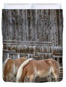 Horses By The Barn Sugarbush Farm Duvet Cover