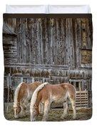 Morgan Horses By The Barn Duvet Cover