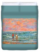 Morning Stroll At Isle Of Palms Duvet Cover